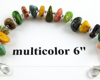 Multicolor turquoise nugget medical alert or watchband 6 inches