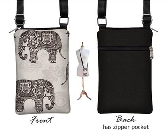 Fabric iPhone 7 Case iPhone 7 Plus Case Sling Bag Elephant Cell Phone Purse Small Cross Body Bag,  Zipper Pocket, gray black RTS