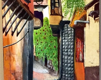 Original painting, old city street in Damascus Syria.