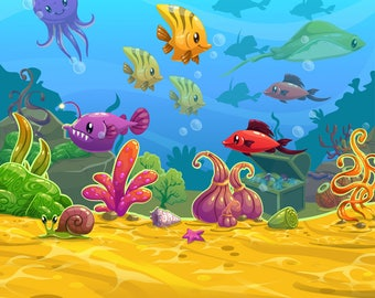 Cartoon underwater world photography backdrops,newborns children vinyl photo background,Birthday party dector photobooth backdrop XT-6125