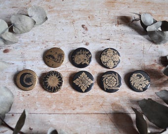 Handmade Lino Printed Black and Gold Pin Badges