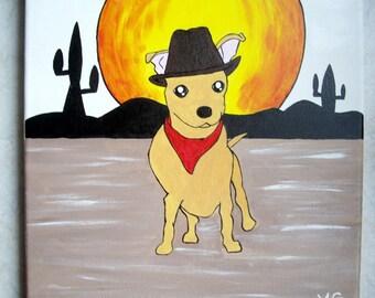 Chihuahua painting original western atmosphere
