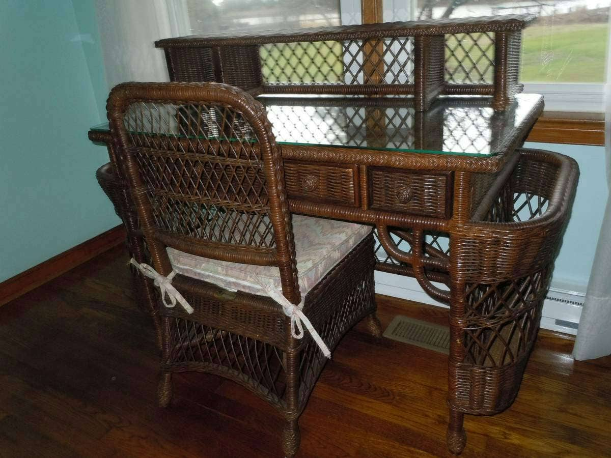 🔎zoom - Henry Link Smithsonian Collection Wicker Desk Chair Set