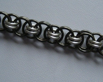 Chainmaille Bracelet KIT -- Black and Non Tarnish Silver Helm Weave with Instructions