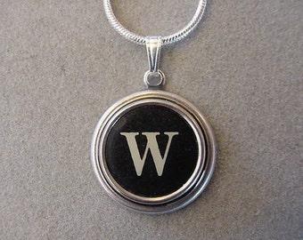 Typewriter key Jewelry Necklace - BLACK  LETTER  W - Typewriter Key Necklace - Initiall W serif font Initial Necklace W