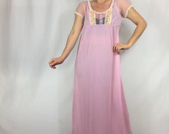 Vintage Pink Nightgown | Sheer | Long | Lace | Pink and Yellow Embroidered Circles