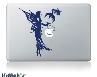 Fairy and Dragon Vinyl Decal - fits cars, windows, laptops + more faerie sticker K151