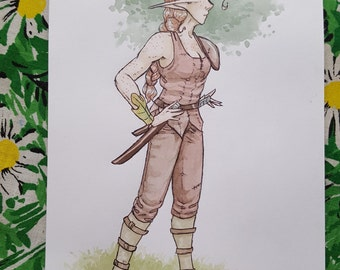 Ariana - Character Concept 2 - Original Art Watercolor Sketch of Comic Illustration