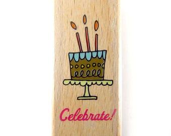 Celebrate (Birthday Cake) - Rubber Stamp, Greeting Cards, Etsy Shop, Logo, Branding, Packaging, Invitations, Party, Favors, Wedding Gifts