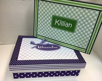 GIFT SET of Twins Keepsake Boxes- Personalized