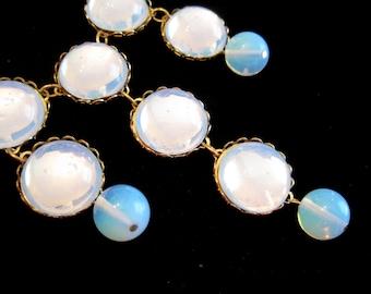 Bib Necklace - Moonglow Bridal Necklace - Vintage Swarovski Cabochons