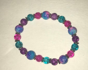 Pink, purple and turquoise blue with silver crystal bead stretch bracelet