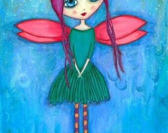 ART PRINT - Natasha - Mixed Media Whimsical Art Fairy Print A4 size Free local Postage