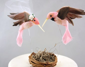 Hummingbird Wedding Cake Topper in Carnation Pink: Bride & Groom Love Bird Cake Topper -- LoveNesting Cake Toppers