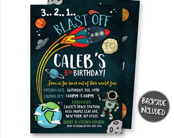 Space Invitation, Space Birthday Invitation, Outer Space Invitation, Rocket Ship, Printables, Personalized, Digital, Astronaut Invitations