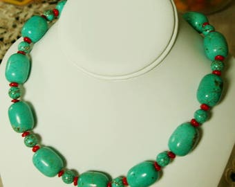 Traditional Blue Turquoise Coral Necklace