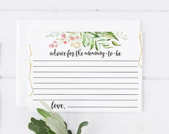 Advice For the Mommy To Be Printable Note Card Template Baby Shower Cards Baby Shower Invitation Template Baby Shower Game Greenery