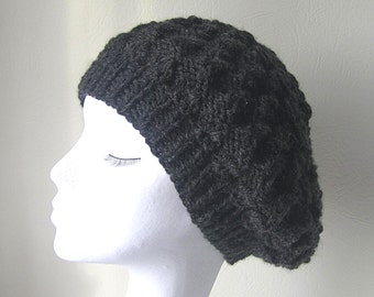 Black Slouchy hat, handknit slouchy hat, Winter hat, black beanie hat, Winter accessories, uk hats, ladies hat, slouchy beanie hat