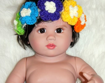 Flower Headband Halo - Baby Girl Toddler or Child - Headband - Hawaiian - Hula - Island - Dress Up
