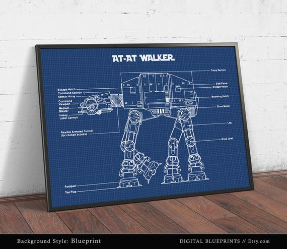 AT AT Walker Blueprint Art Star Wars Poster Printable Tie Fighter Schematic on tie phantom, y-wing schematic, tie advanced,