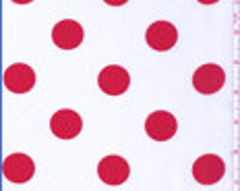 """60"""" White and Red Dot Fabric-15 Yards Wholesale By the Bolt (FP624)"""