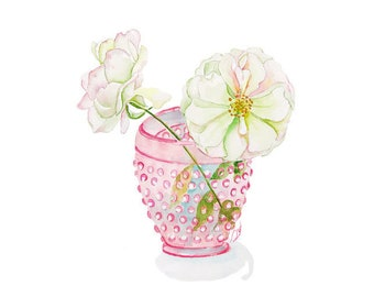 Pink-Rose-Watercolor Print-Floral-Print-Rose-Wall Art-Painting-Illustration-Botanical-Flower-Wall Decor-Artwork-Nursery Wall Art-Gift