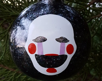 Puppet 5 Nights At Freddy's Face Parody Christmas Holiday Ornament  * Add Year and/or Name for FREE to back  * 5NAF * Five * FNAF