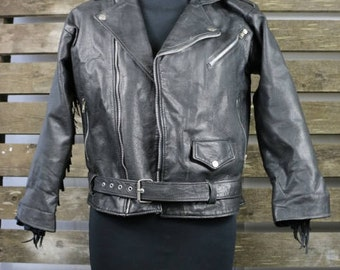 Vintage 1980's Black (Womens/Mens) Fringe Leather Jacket / Motorcycle Jacket BROKEN ZIP