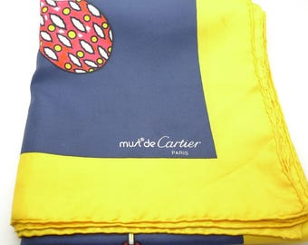Must De Cartier Vintage Silk Scarf Jewels Blue and Yellow Print