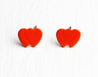 Orange Twin Heart Studs