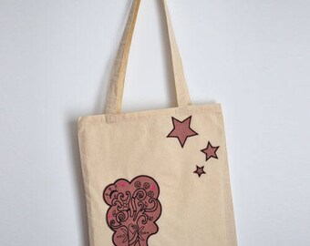 Sale flash-canvas bag / Tote bag-one single - pink and black