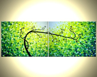 30% Off Original Tree Painting, Large Abstract Trees, Contemporary Fine Art, Green Yellow Landscape Lafferty 18x48, Mothers Day Sale