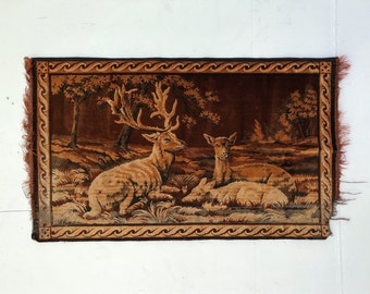 Vintage Deer Tapestry, Orange and Brown Tapestry, 1970s Velvet Wall Hanging, Velvet Wall Art, Vintage Wall Hanging, Forest Tapestry, Nature