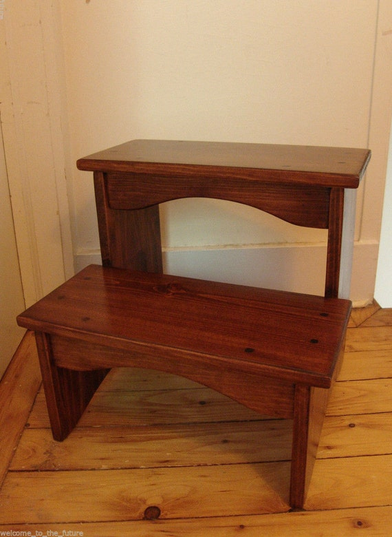 handcrafted heavy duty wooden step stool 16 extra tall. Black Bedroom Furniture Sets. Home Design Ideas