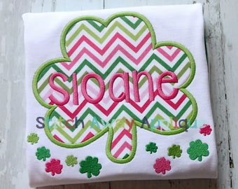 Simple Shamrock St. Patrick's Day Machine Applique Design