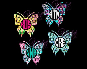 Butterfly-Butterfly Decal-Circle Monogram-Yeti Decal-Cup Decal-Circle Monogram Decal-Lilly Inspired-Window Decal-Custom Decal-Laptop Decal