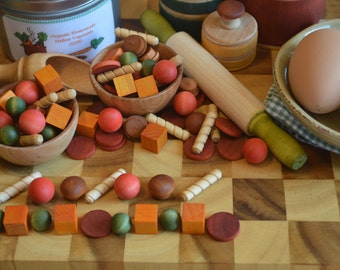 Pretend Food Italian Style Vegetable Soup  Wooden Sensory Toy Count Sort Make Patterns
