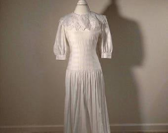 Lanz Originals dress, 1980's designer, semi formal, lace collar, puff sleeves