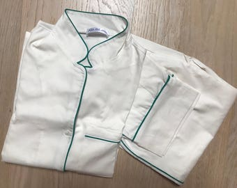Mint Green piping piqué pajama for women.