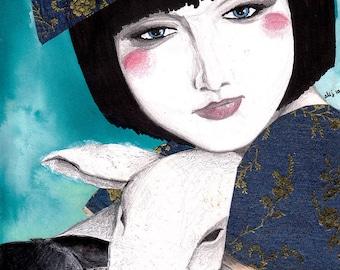 Modern Day Fairytale Character Little Bo Peep Portrait, Japanese Oriental Inspired, Bright Blue, Pet Sheep Lamb, Dream Imagination, Wall Art