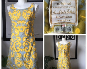 Maud Fredin Fredholm vintage dress / Yellow Grey 40 - fits small / Sweden Scandinavian design