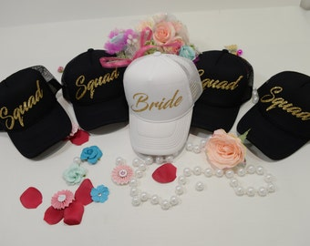 Bride hat, squad hat, bachelorette party hat, bridesmaid hat, custom party hat, hen party hats, wedding party hats, Bachelorette hat,