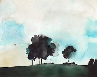 Watercolor Painting - Trees in Art - Landscape Painting Print - Fragile - 8x10 Giclee Print - Landscape with Bird Trees