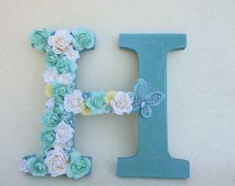 Nursery wall letter- Baby shower present - Flower name letter- Baby shower decor- Christmas gift- Blue glitter letter H- Wedding decor