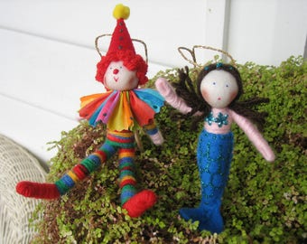 Clown doll and mermaid doll, customisable dolls