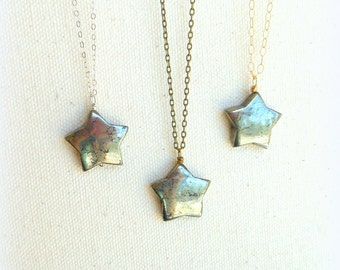 Pyrite star necklace celestial jewelry gemstone star pagan jewelry stone star jewelry silver gold filled necklace everyday necklace