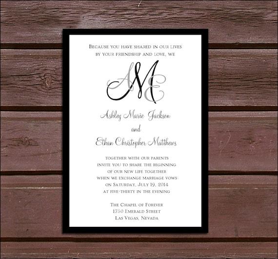 Monogram Wedding Invitations RSVPs Reception Insert w
