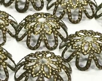 Bronze Flower Filigrees-Flower Filigrees-Bronze Filigrees-Bronze Bead Caps-Filigrees-Bead Caps