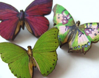 Set of three, wooden, Brooch,  small butterfly brooches, wood, pink, green, purple, by NewellsJewels on etsy