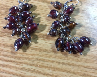 Up cycled antique glass bead dangle earrings